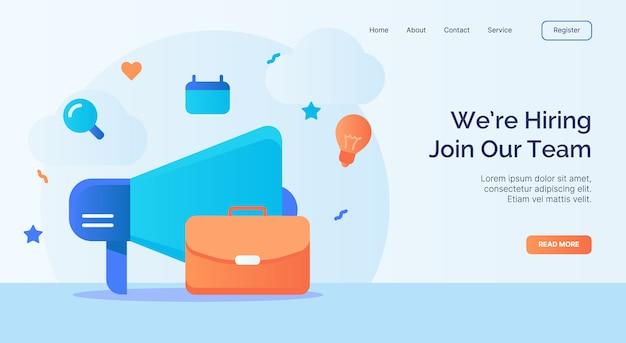 We huren in om deel te nemen aan ons team megafoon koffer icoon campagne voor web website startpagina landingssjabloon met cartoon stijl.