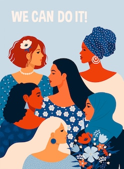 We kunnen het. poster internationale vrouwendag. illustratie met vrouwen verschillende nationaliteiten en culturen.