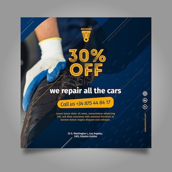 We repareren alle vierkante flyer-sjabloon voor auto's