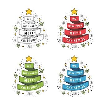 We wensen je een vrolijk kerstgroet lintenset