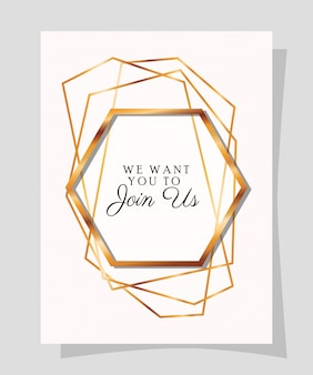 We willen met ons mee tekst in gouden frame van huwelijksuitnodiging