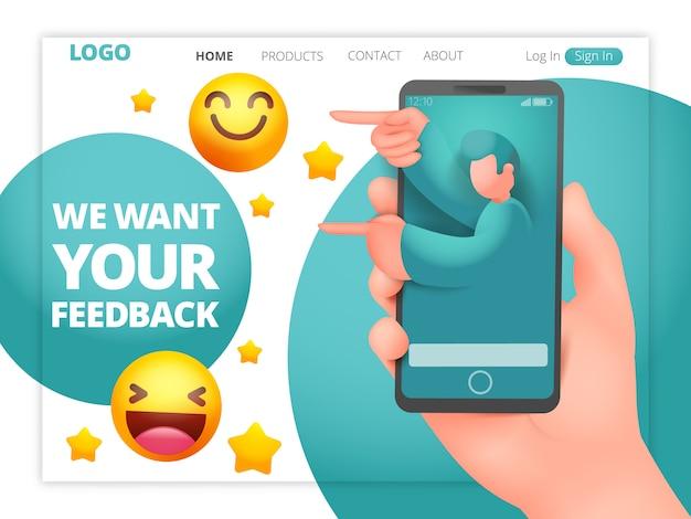 We willen uw feedback-webpagina sjabloon met mannelijke assistent-karakter