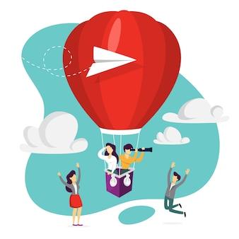 We zijn aan het huren. mensen op de rode luchtballon die een sollicitant zoeken. idee van rekrutering en headhunting. op zoek naar medewerker voor zakelijk team. illustratie