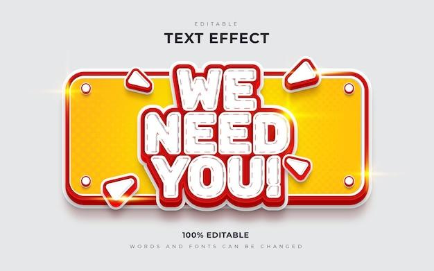 We zijn aan het inhuren of we hebben u bewerkbare teksteffecten voor de functie nodig