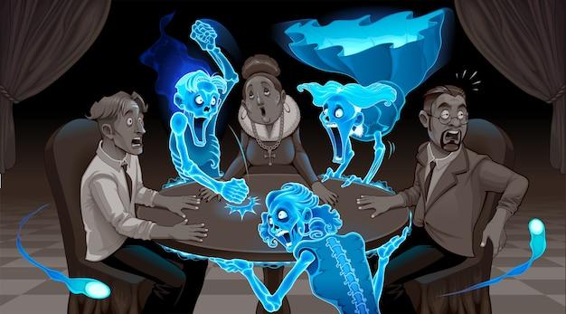 We zijn niet dood. cartoon voorstelling van een seance.