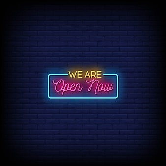 We zijn nu open neon signs style text