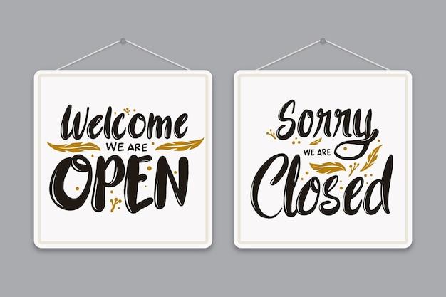 We zijn open en we zijn gesloten belettering