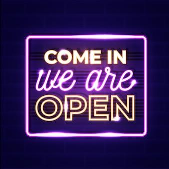 We zijn open neon sign concept