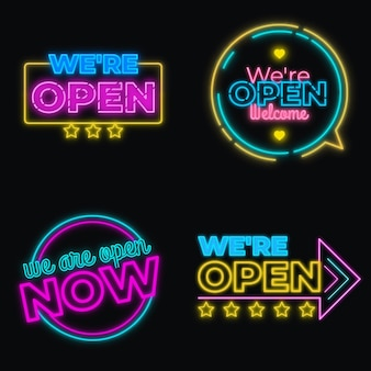 We zijn open neon sign set-thema