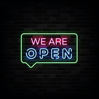 We zijn open neonreclames ontwerpsjabloon neonstijl