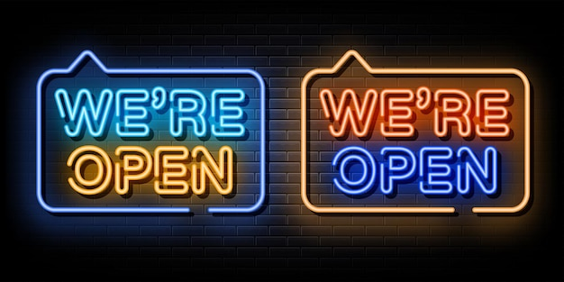 We zijn open set neon tekst neon symbool
