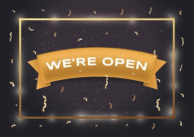 We zijn open vector platte banner sjabloon witte tekst op