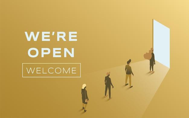 We zijn open vector platte posterontwerpmensen die binnen staan