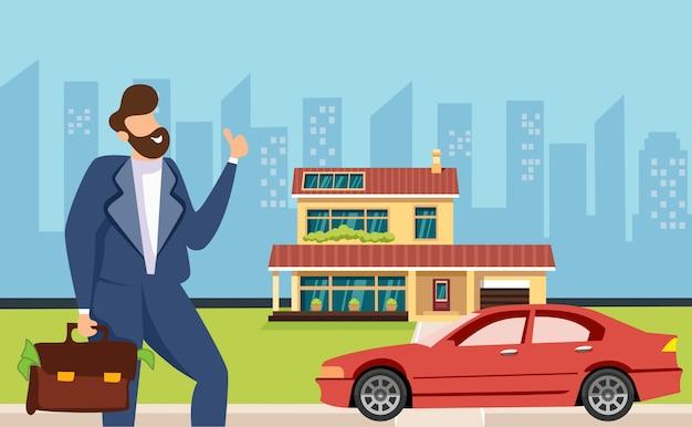 Wealth prosperity successful businessman banner