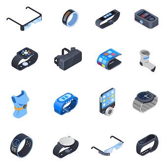 Wearable technologie isometrische icons set