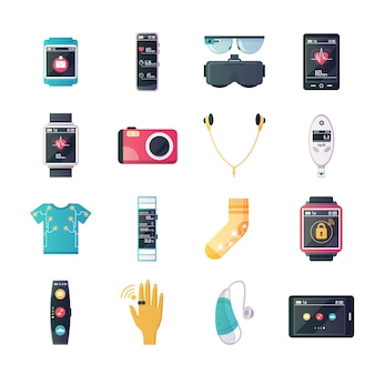 Wearable technology gadgets vlakke pictogrammen collectie