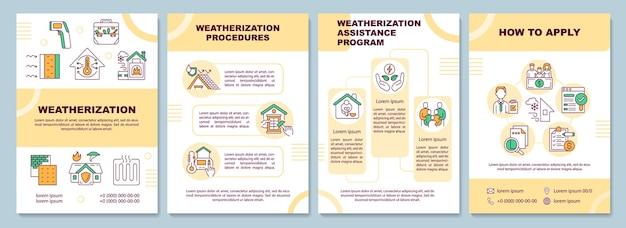 Weatherization sjabloon. hoe toe te passen. procedures. flyer, boekje, folder, omslagontwerp met lineaire pictogrammen. lay-outs voor tijdschriften, jaarverslagen, reclameposters