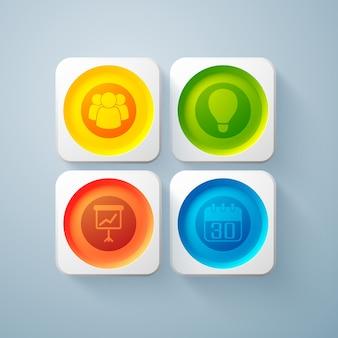 Web abstracte bedrijfselementen met kleurrijke ronde knoppen in vierkante geïsoleerde kaders en pictogrammen
