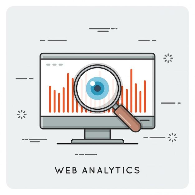 Web analyses. dunne lijn concept.
