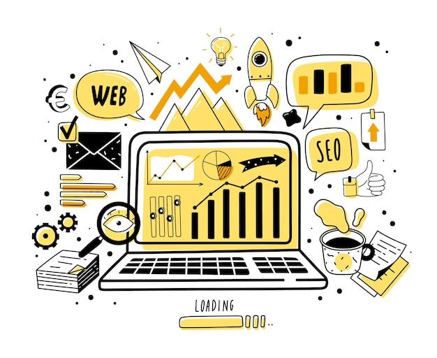 Web analytics doodle pictogrammen illustratie