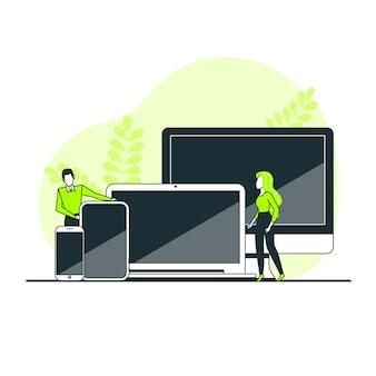 Web apparaten samen concept illustratie