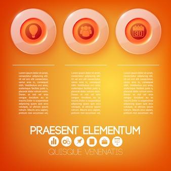 Web bedrijfs infographic concept met tekst drie rode glazen ronde knoppen en pictogrammen