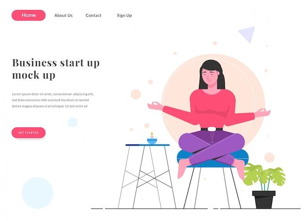 Web bestemmingspagina vrouw met yoga
