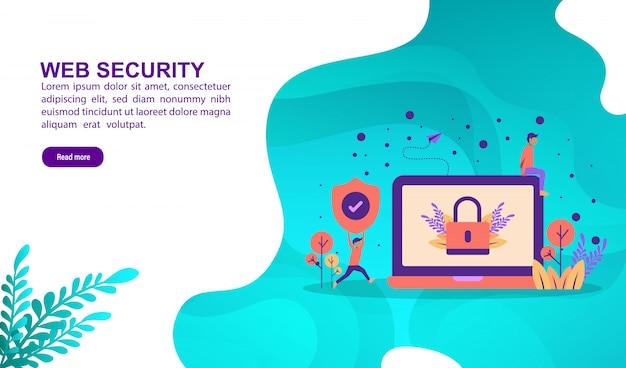 Web beveiliging illustratie concept met karakter. bestemmingspaginasjabloon