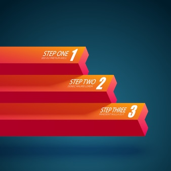 Web business abstract sjabloon met horizontale rechte kolommen en drie opties geïsoleerd