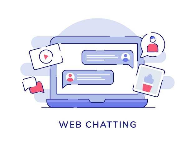 Web chatten concept bubble talk foto video op laptop scherm met platte omtrekstijl