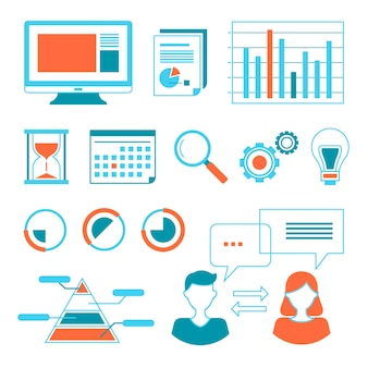 Web data-analyse samenvatting vector illustratie set collectie