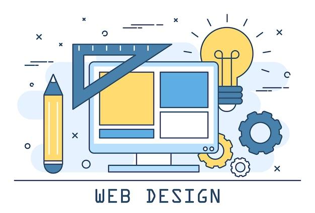 Web design lijntekeningen illustratie. website-ontwikkeling en creatieve interface-opbouw. programmeersoftware.