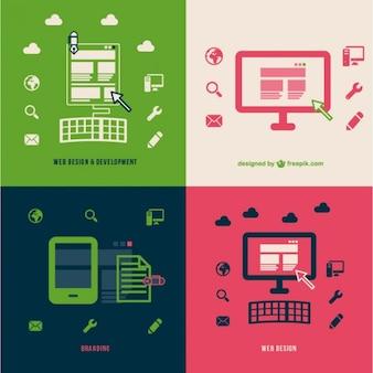 Web developement branding platte illustraties