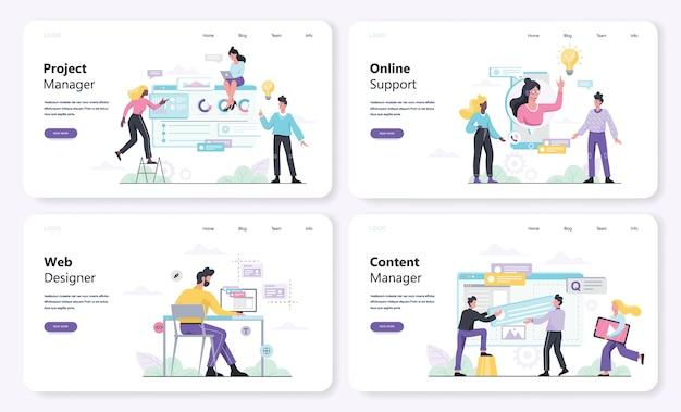 Web er concept banner set. webberoep zoals contentmanager en online ondersteuning. illustratie in stijl