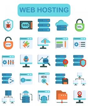 Web hosting iconen set, lineaire kleurstijl