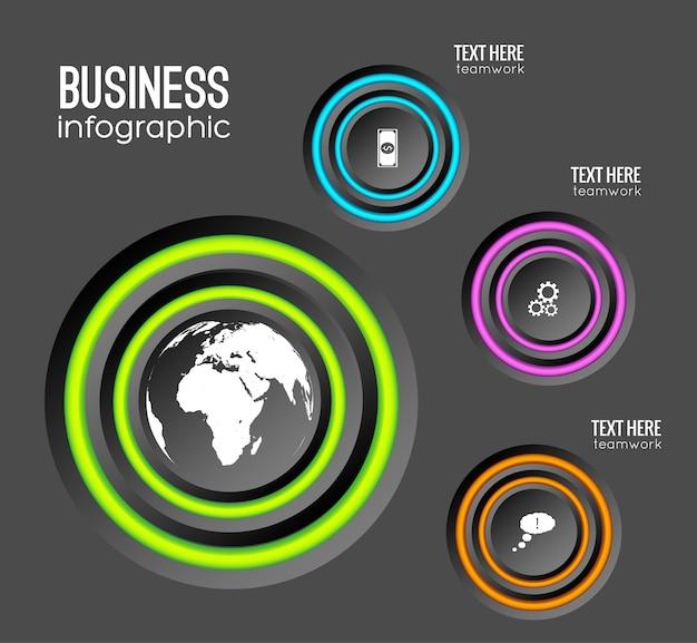 Web infographic bedrijfsconcept met cirkels kleurrijke ringen en pictogrammen
