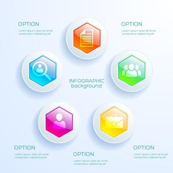 Web infographic concept met kleurrijke glanzende zeshoekige grafiek en bedrijfspictogrammen geïsoleerd
