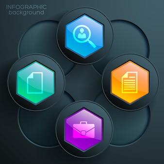 Web infographic grafiek concept met pictogrammen bedrijfs kleurrijke glanzende zeshoekige knoppen en donkere kringen