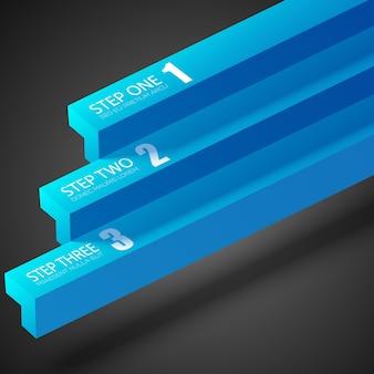 Web infographic ontwerpconcept met blauwe rechte balken en drie opties