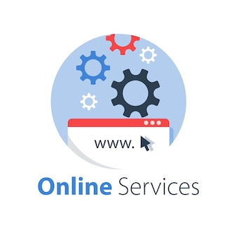 Web, internettechnologie, softwareontwikkeling, hostingservices, online oplossing, illustratie