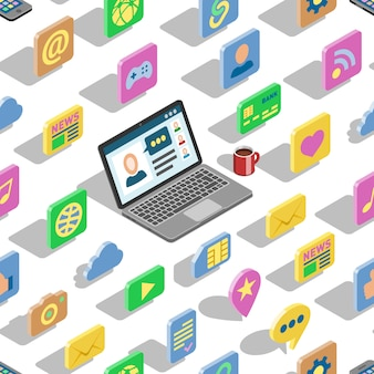 Web isometrische pictogrammen 3d office collectie set en computer laptop knoppen voor website met zakelijke isometrische iconische symbolen digitaal internet en sociale media naadloze patroon achtergrond