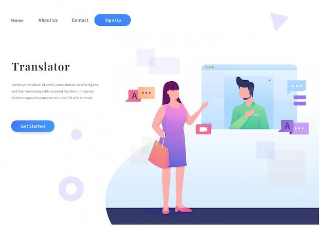 Web landingspagina online vertaler