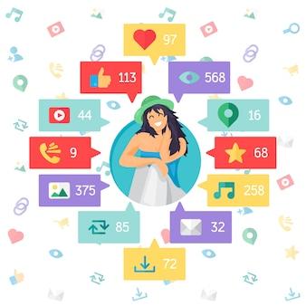 Web life of happy woman van blog en sociale netwerken, online winkelen en e-mailen