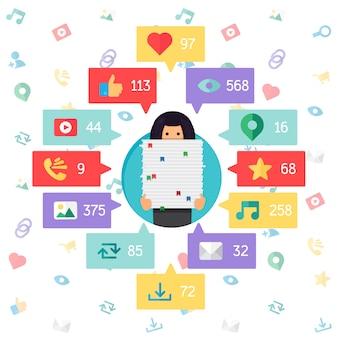 Web life of worker woman van blog en sociale netwerken, online winkelen en e-mail