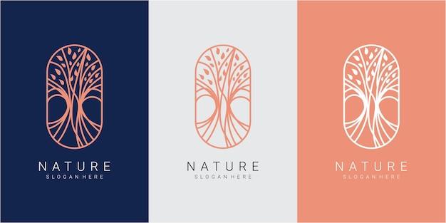 Web natuur logo ontwerpconcept. boom natuur logo ontwerp inspiratie