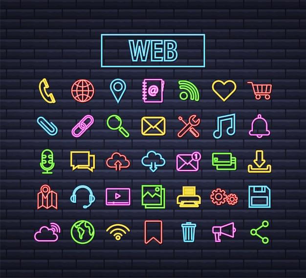 Web neon pictogramserie. bedrijf. e-mail icoon. videochat. vector voorraad illustratie.