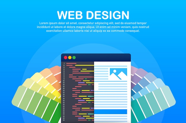 Web ontwerp illustratie. concept van het maken van websites, ontworpen banners voor ui, ux-ontwerp en webontwerp.