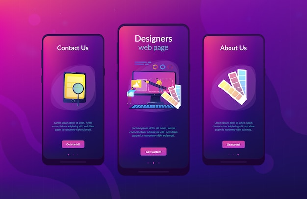 Web ontwerp ontwikkeling app interface sjabloon