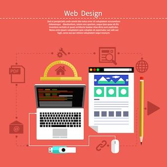 Web ontwerpconcept. laptop monitor met het scherm van het programma voor ontwerp en architectuur in platte ontwerp. instellen voor web- en mobiele toepassingen van webdesign