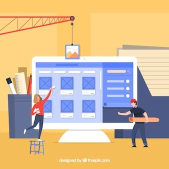 Web ontwerpconcept met platte ontwerp